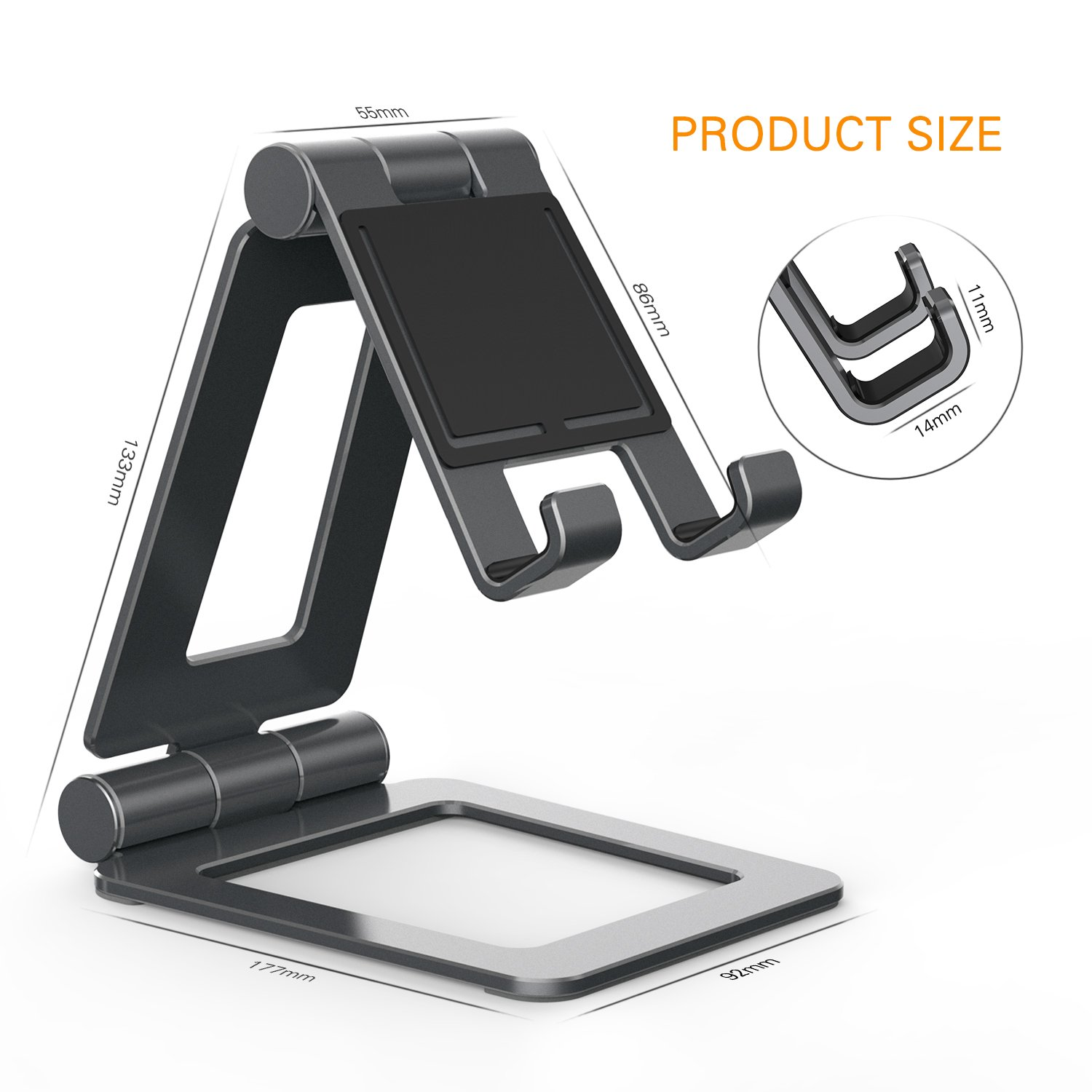 Adjustable iPad Stand, Tablet Stand Holders, Cell Phone Stands, iPhone Stand, Nintendo Switch Stand, iPad Pro Stand, iPad Mini Stands and Holders for Desk (4-13 inch) by Hi-Tech Wireless (Image #6)