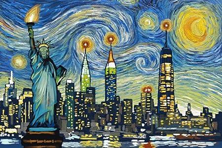 New York by artist Melixah New york Starry night mix media New York Manhattan watercolor printed frame Christmas gift,Merry christmas