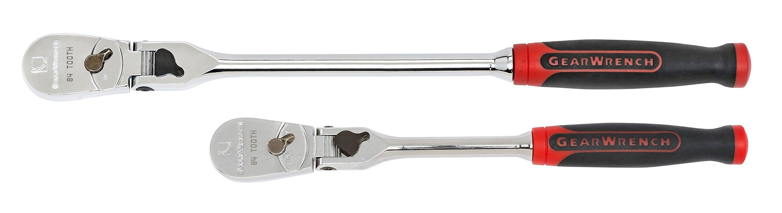 GEARWRENCH 81275 2 Pc. 1/4'' & 3/8'' Drive 84 Tooth Dual Material Locking Flex Head Teardrop Ratchet Set, Black