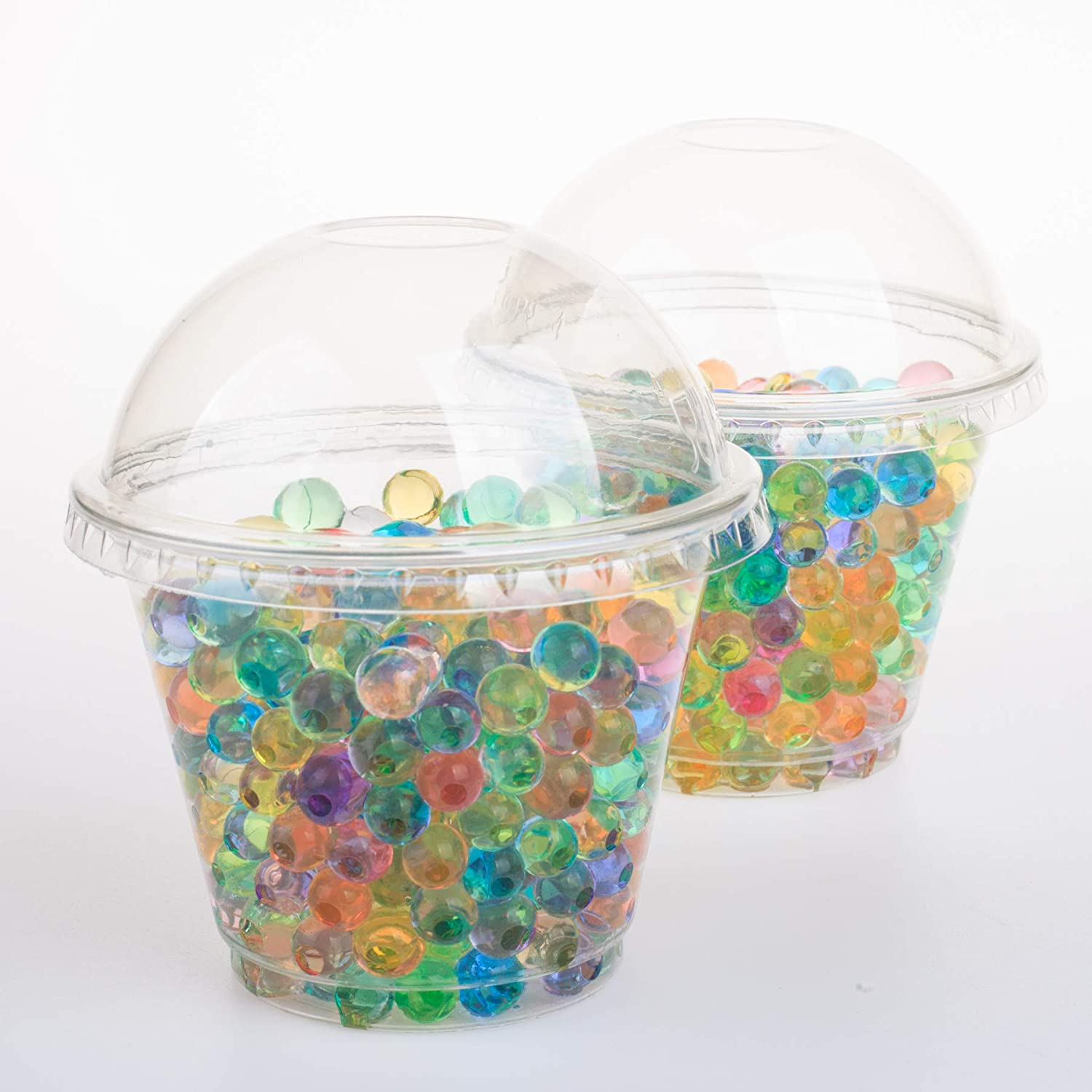 GOLDEN APPLE Cup series, 9oz Clear Plastic cups with Dome lids no hole 25sets, BPA Free
