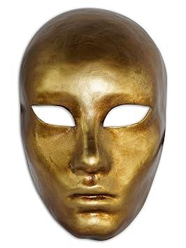Máscara veneciana completa Volto Metallo para hombres y mujeres (oro)