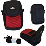 Case4Life Red/Black Soft Shockproof Digital Camera Case Bag for Canon Powershot + Elph A, SX, S Series inc S120, S200, A3500, SX610 HS, SX620 HS, SX240 HS, SX280 HS, A1400, A2400 IS
