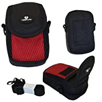 Case4Life Red/Black Soft Shockproof Digital Camera Case Bag for Canon Powershot + Elph A, SX, S Series inc S120, S200, A3500, SX610 HS, SX620 HS, SX240 HS, SX280 HS, A1400, A2400 IS