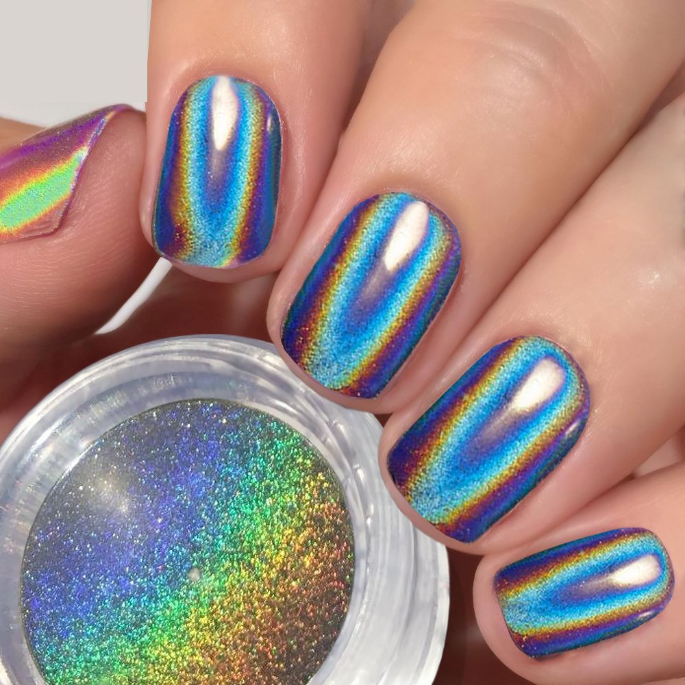 Rainbow Metallic Nail Polish: Amazon.com : PrettyDiva Mermaid Chrome Nail Powder, Neon