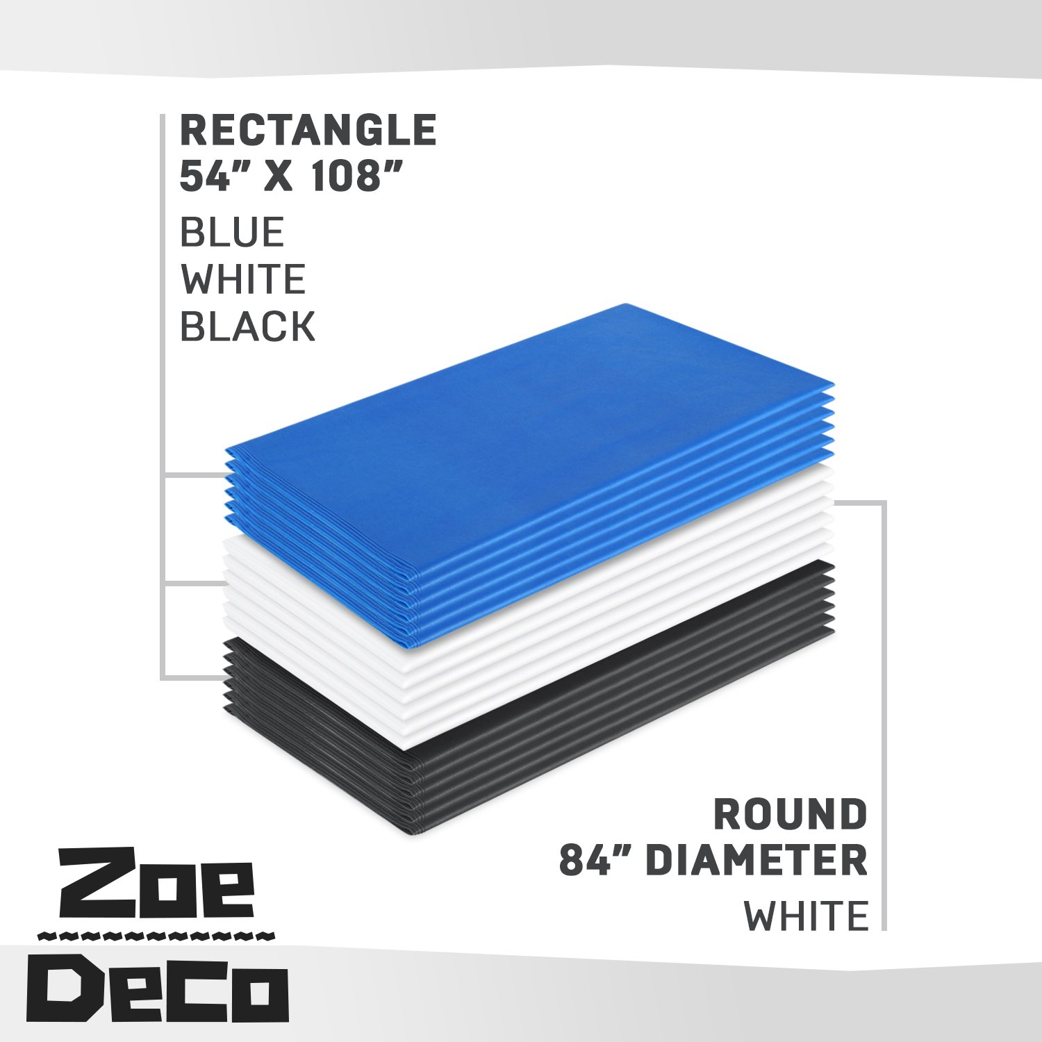Zoe Deco Plastic Tablecloth, 54'' x 108'' Blue Tablecloth - 12 Pack - Rectangle Tablecloth for Parties, Graduations, and Picnics by Zoe Deco (Image #6)