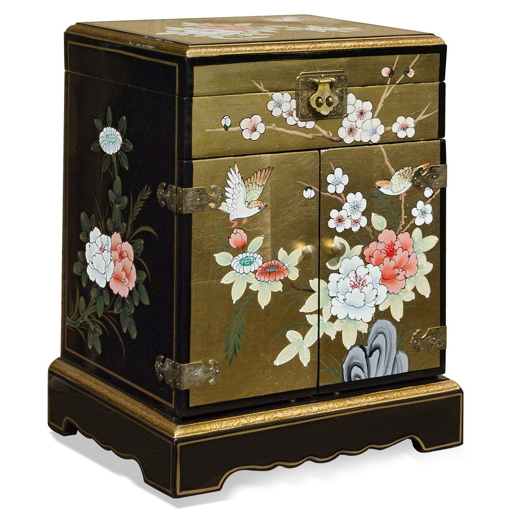 China Furniture Online Black Lacquer Jewelry Box, Hand Painted Bird and Flower Motif with Gold Leaf Jewelry Chest Gold and Black