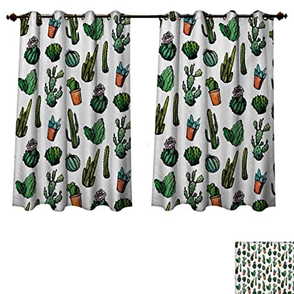 RuppertTextile Cactus Blackout Curtains Panels For Bedroom Sketchy Spiked Mexican Garden Foliage Boho Hand Drawn Style