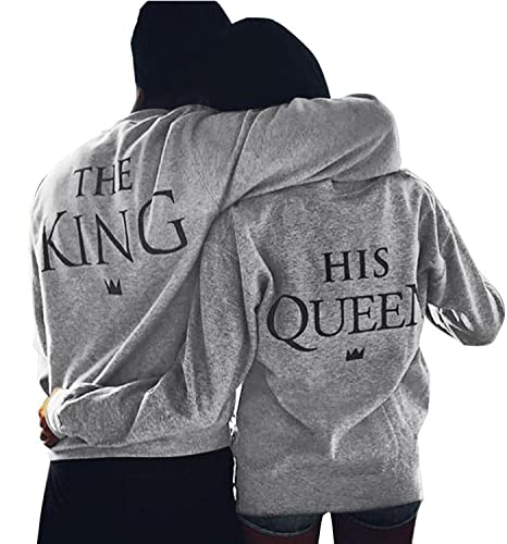Minetom King Queen Stampa Sweatshirt Pullover Maglietta Tops Manica Lunga Tshirts Prima Edizione Reg...