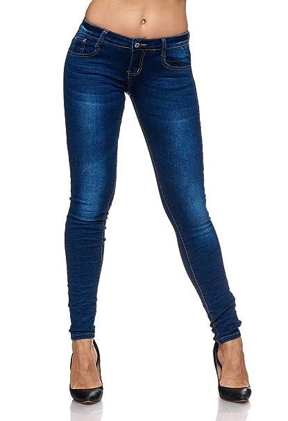 Damen Jeans Skinny Fit Stretch Hüfthose Stone Washed Dunkel