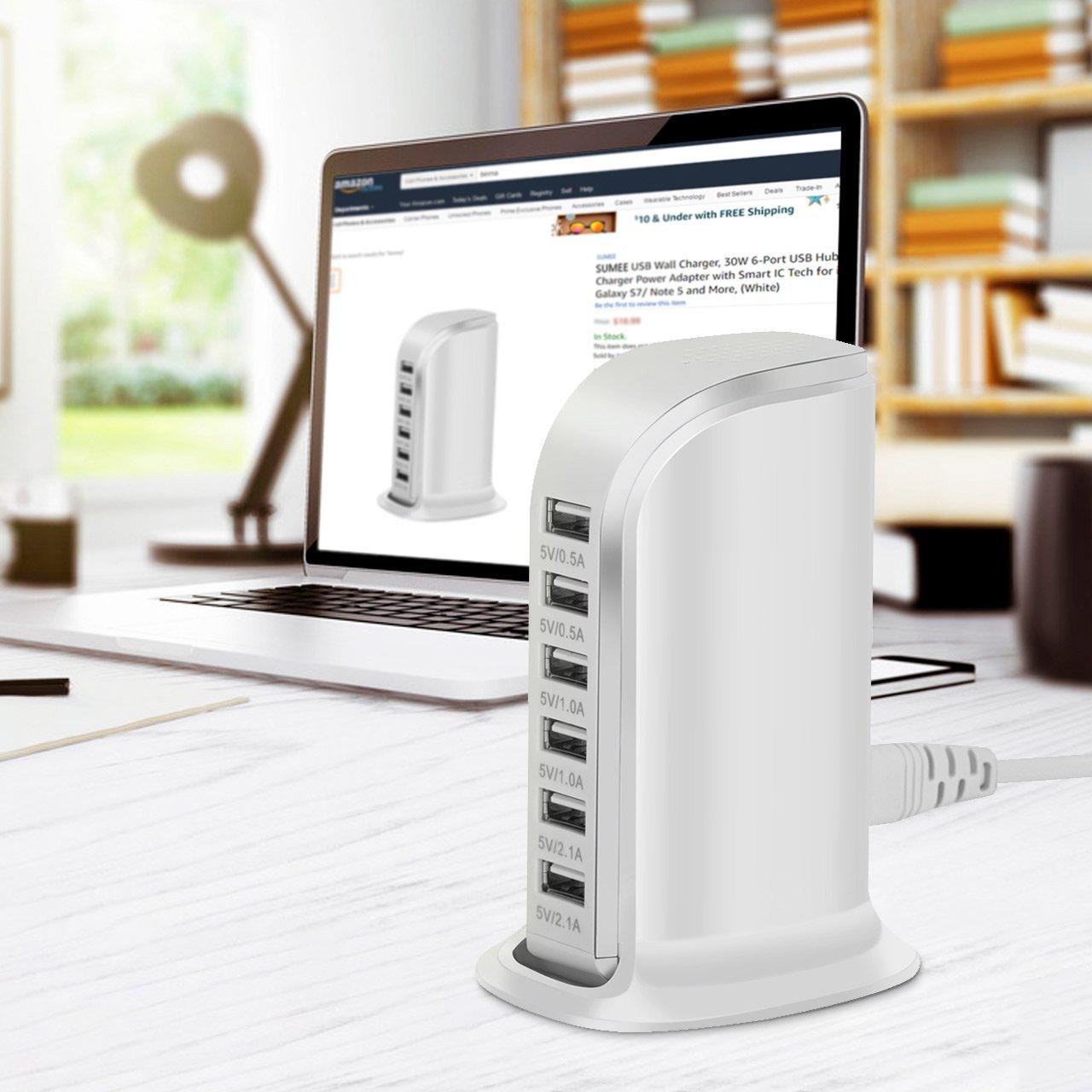 sumee usb wall charger 30w 6 port usb hub charging station desktop rh amazon com au