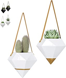 "Geometric Ceramic Hanging Planters | Set of 2 | Indoor & Outdoor Home Wall Planters | Hanging Succulent Pots Herbs Air Plants Holder Modern Wall Decor (W:5.90"" H:5.10"") (White & Gold Accents)"
