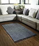 Store Indya Cotton Traditional Rug in Blue Floral Design In Block Printing Hand Woven Rug Mat Living Room Home Decor Gift Ideas For Men & Women