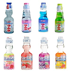 Ramune Japanese Refreshing Carbonated Soft Drink Soda Variety Pack - Ramune Gift Set 8 Variety Pack - Japanese Drink Gift Set Box (8 Count)
