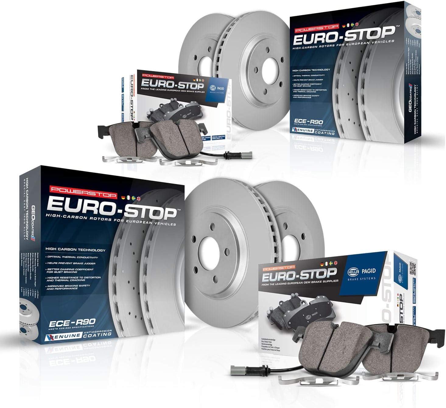 Power Stop ESK6666 Euro-Stop Front and Rear Brake Kit Coated Brake Rotors /& Ceramic Brake Pads