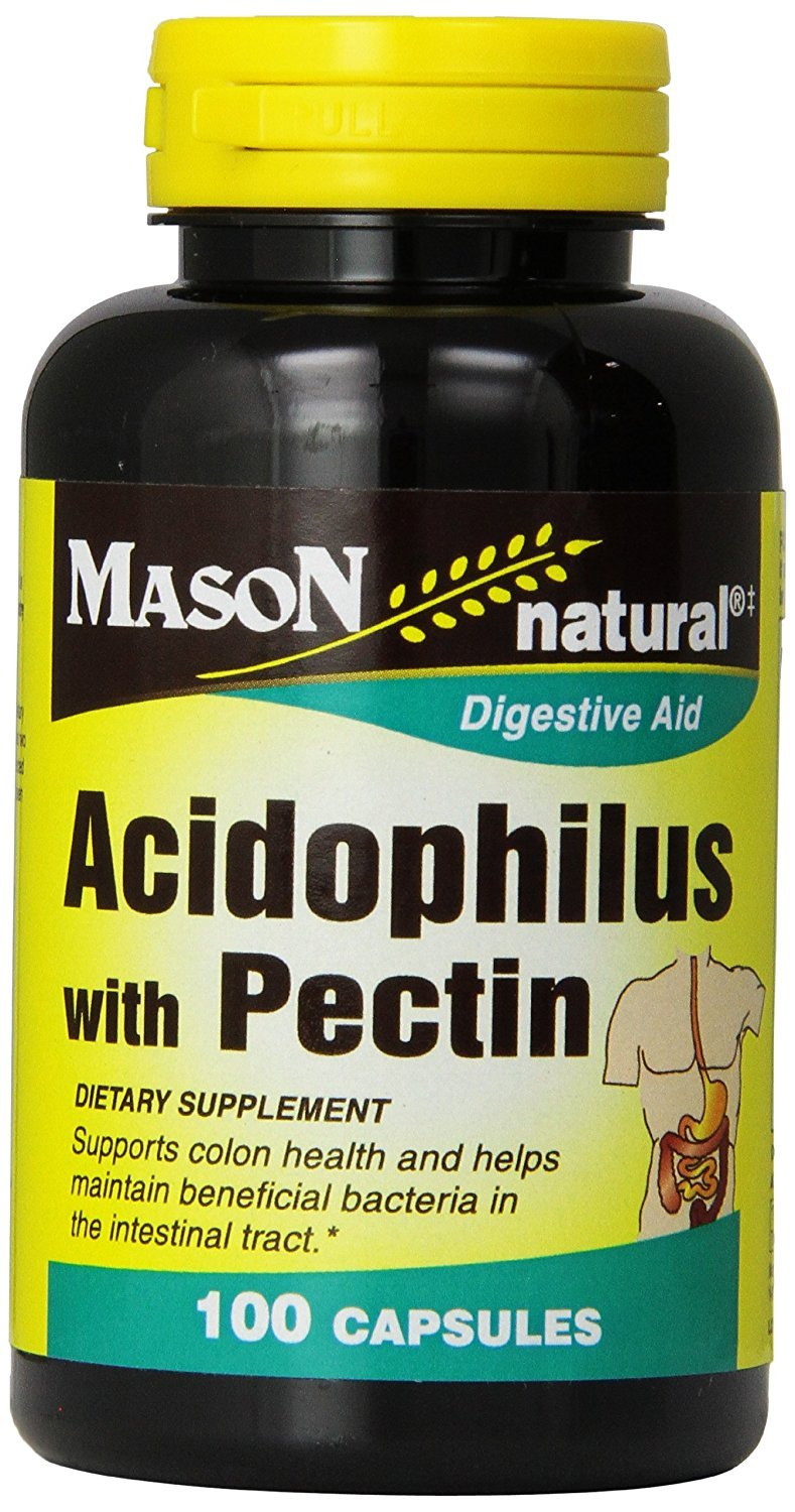 Mason Natural, Acidophilus with Pectin Capsules 100-Count Bottles (Pack of 3), Probiotic Dietary Supplement, Supports Healthy Digestion, May Ease Stomach Discomfort Due to Digestive Issues