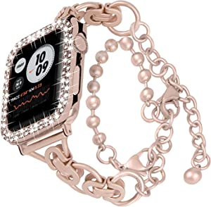 HAYUL Bracelet Band with Bling Case Compatible with Apple Watch 6/5/4/3/2/1/SE, 38mm 40mm 42mm 44mm Metal Bands for Women Girls, Double Wrap Stainless Bracelet with Bling Diamond Case(Rose Gold, 40mm)