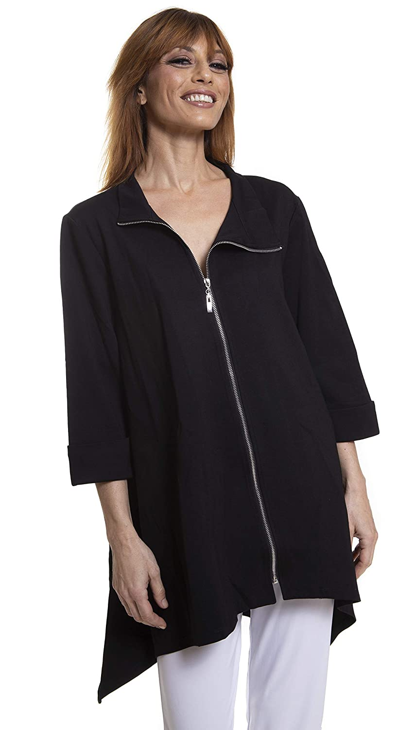 VECCELI  Florence Asymetric Long Cardigan Black