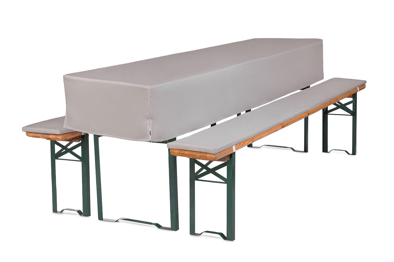 TexDeko GmbH Bierbankauflagen mit Tischhusse halblang für Bierzeltgarnitur (Schaumstoff Extra Stark RG30/50) (220x50x30cm) in Grau