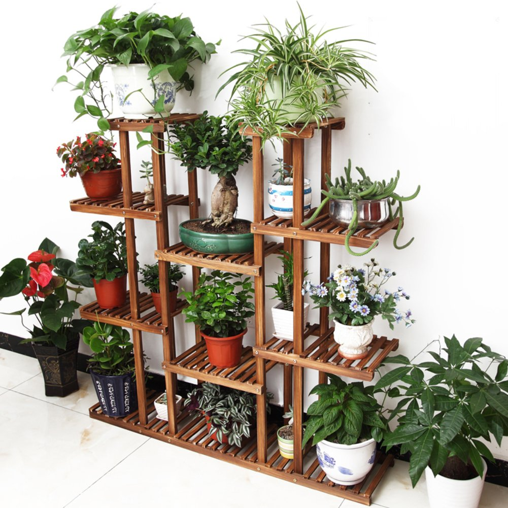 KELE Plant flower stand,Balcony multi-layer wooden storage rack Outdoor indoor wood flower pot shelf-A