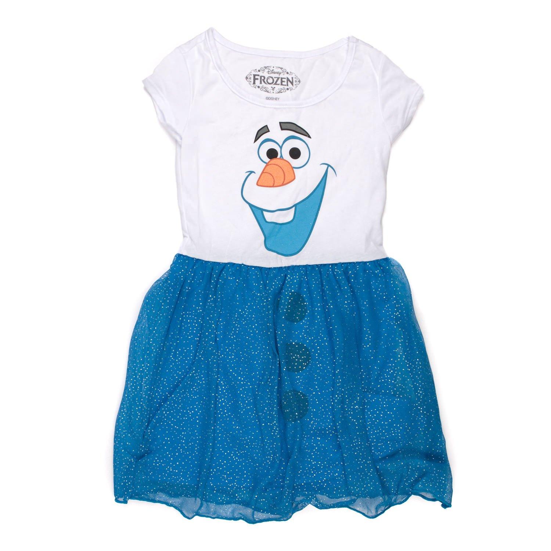 Mighty Fine Disney Frozen I Am Olaf Girls Costume Glitter Dress (LARGE)
