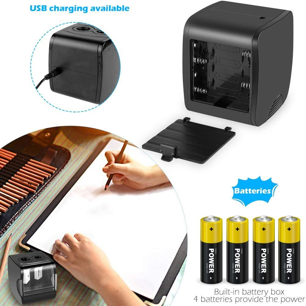 Electric Pencil Sharpener, AOFU USB Double Hole Battery Operated Heavy Duty Sharpener for kids, School and Office (Black)-003 by AOFU (Image #4)
