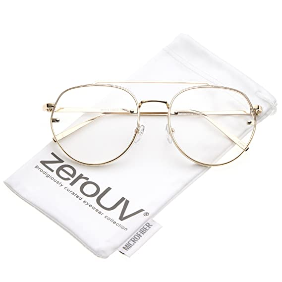 5a1e3685537 zeroUV - Modern Slim Brow Bar Rimless Clear Round Flat Lens Aviator  Eyeglasses 59mm (Gold Clear)  Amazon.in  Clothing   Accessories