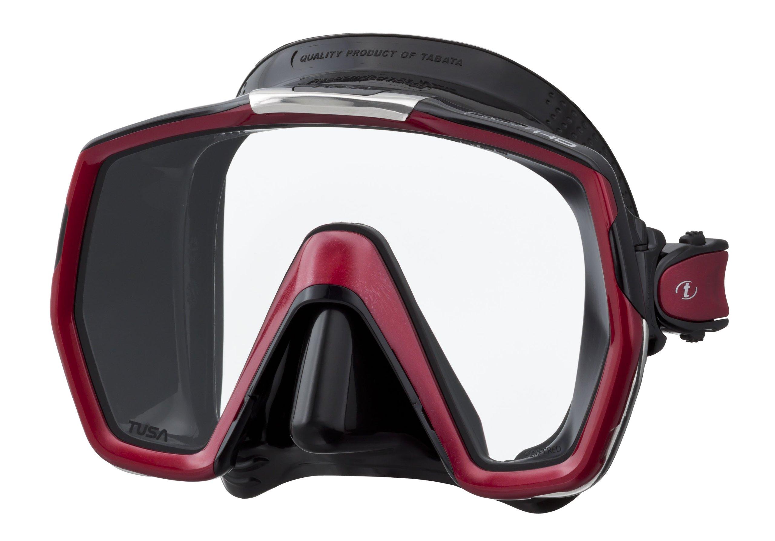 TUSA M-1001 Freedom HD Scuba Diving Mask, Black/Metallic Dark Red