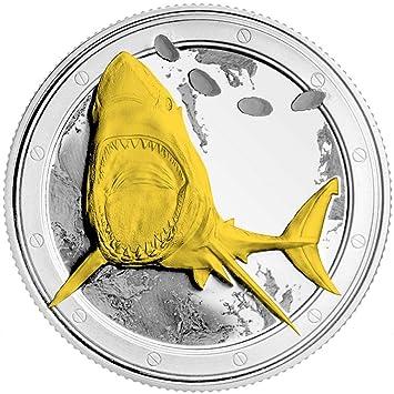 A1mega Hai Münze Weißer Hai 3 D 24 Karat Vergolden Und