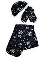 Women's Snow Flake Polyester Fleece Winter Set