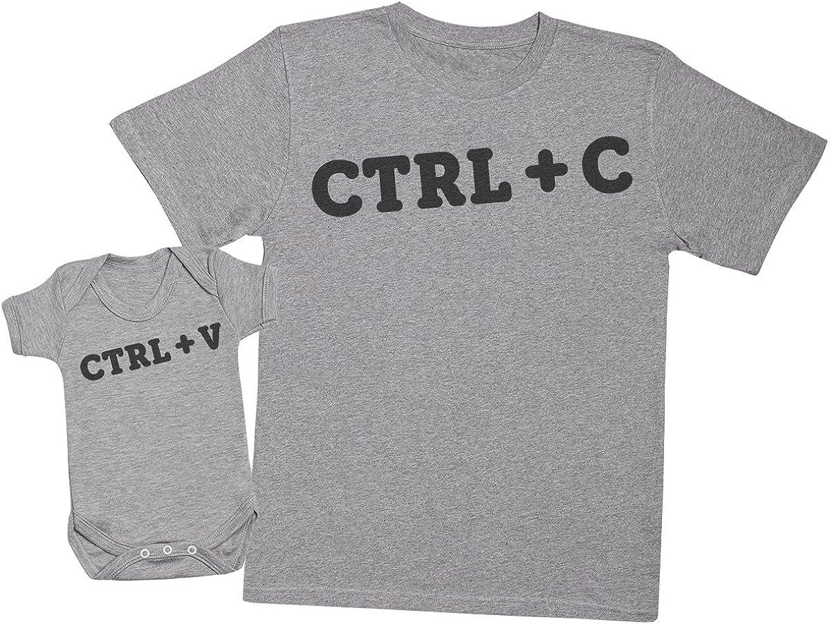 CTRL C and CTRL V - regalo para padres y bebés en un cuerpo para bebés y una camiseta de hombre a juego