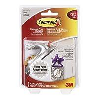 Command Traditional Brushed Nickel Medium Hook Value Pack, 3 lb Capacity, 3 Hooks 6 Medium Strips, (17051BNC-VP)