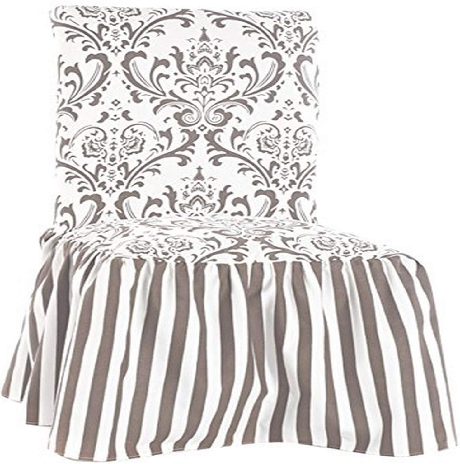 Amazon Com Classic Slipcovers Csi Damask Ruffled Dining Chair Cover Brown Stripe Home Kitchen