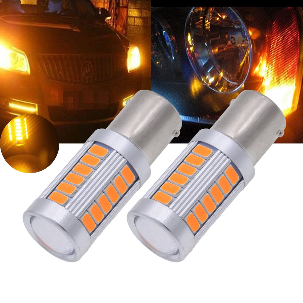 Tuincyn 1156 Ba15s P21w Amber 5630 33smd Led Bulbs 900 2x 7506 7527 Light Bulb Wire Wiring Harness Socket Lumens 1141 7056 Bright Brake Stop Parking Turn Signals Side Markers Lamp Dc