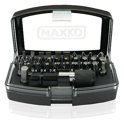 MAXKO juego de puntas para destornillador, 32 piezas, incluye soporte y adaptador cuadrado a hexagonal, para destornilladores manuales y eléctricos