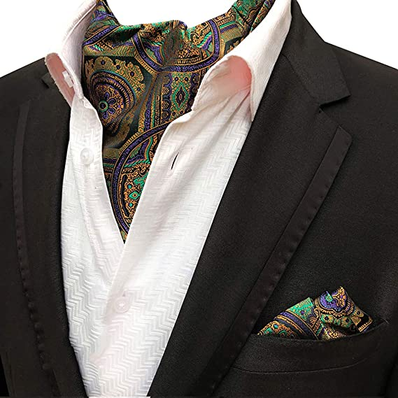 6ba5008e6ae4 MOHSLEE Mens Party Floral 100% Silk Cravat Tie Woven Ascot Pocket Square  2Pcs Set