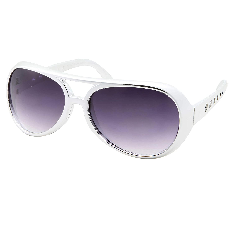 50's 60's Rock Star Sunglasses - Elvis Style Aviator Glasses - Mens Costume Black Lens) GP7015MT-GLD-BLK