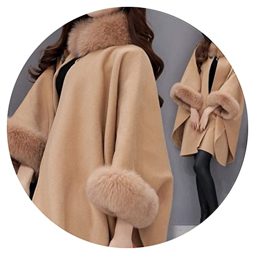 Autumn Womens Wool Coat Long Woolen Coat Female Elegant Cloak Jacket Sweet Fashion Clothes,Camel