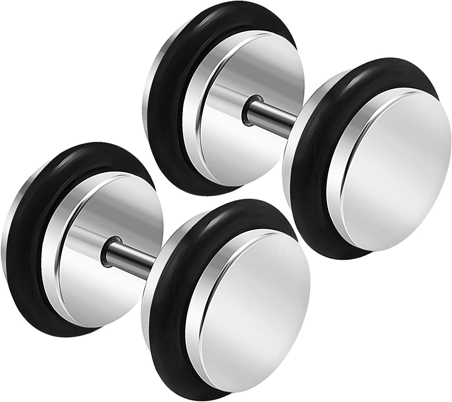 BanaVega 2PCS Stainless Steel 16g 1.2mm Black O-Rings Cheater Plug Earring Illusion Gauge Ear Lobe Piercing Jewelry See More Sizes