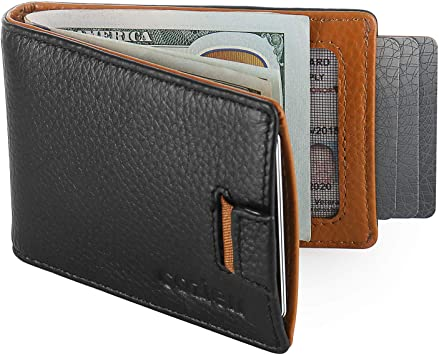 Non-Branded Brown//Black Synthetic Leather Front Pocket Wallet w//Money Clip