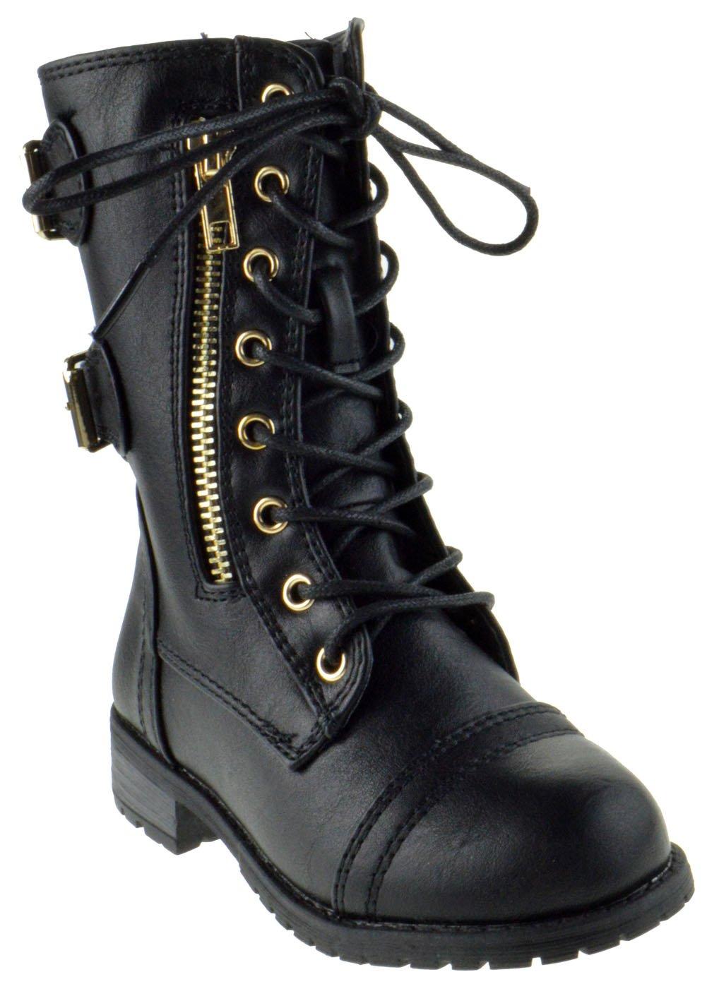Mango 71 KA Baby Girls Combat Lace Up Boots Black 8 Toddler
