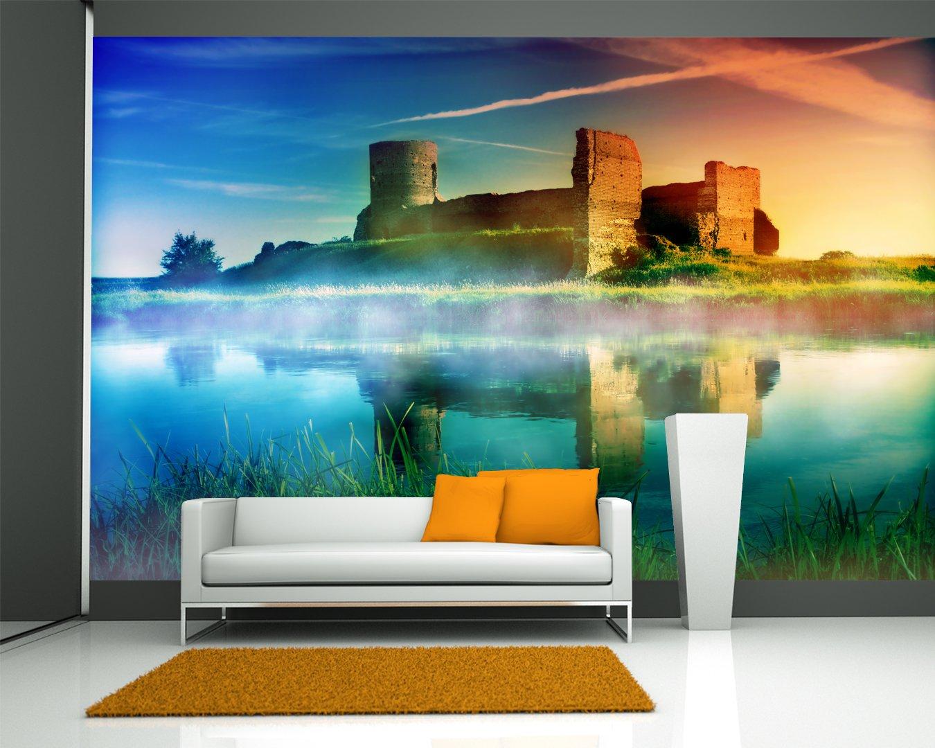 Vlies Fototapete - Alte Burgruine im Sonnenuntergang - 310x200 cm - mit Kleister - Foto auf Tapeten - Wandtapete – Vliestapete – Wanddeko