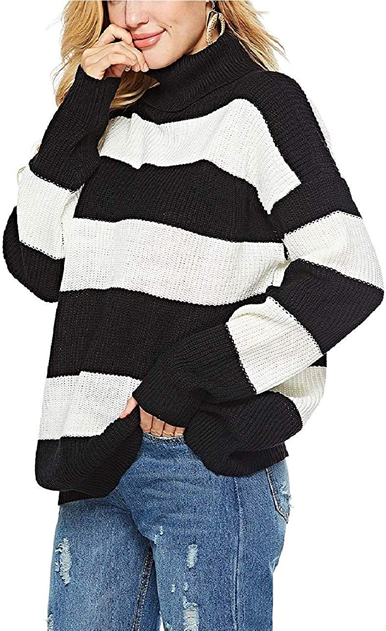 Pamee Womens Turtle Neck Pullover Sweater Oversized Soft Knitted Long Sleeve Casual Long Tops