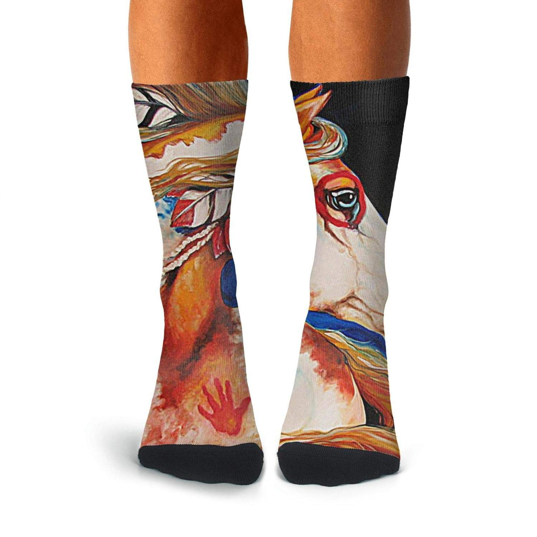 Over The Calf Socks For Men Pattern Compression Stockings Men KCOSSH Indian Tribal Horse Mens Socks Crew Novelty
