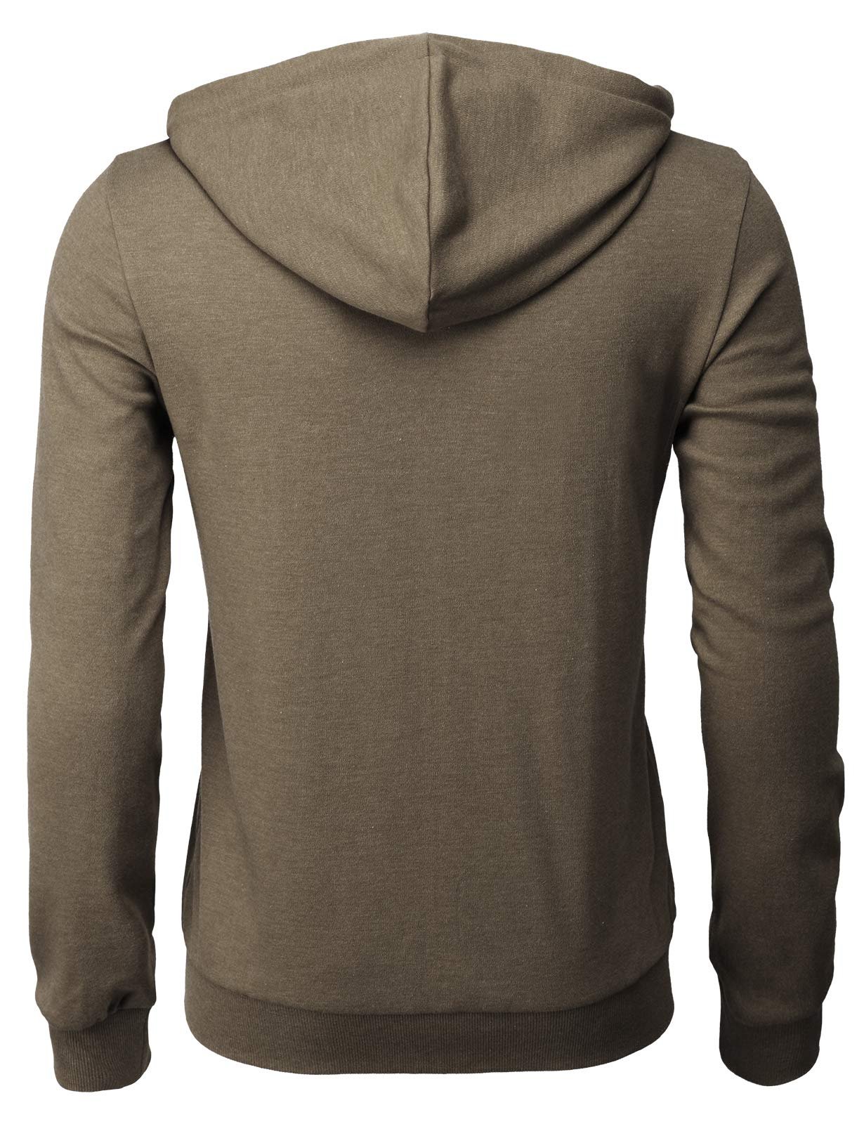 H2H Mens Casual Zip up Hoodie Basic Long Sleeve Zip up HEATHERBROWN US 2XL/Asia 3XL (CMOHOL048) by H2H (Image #3)