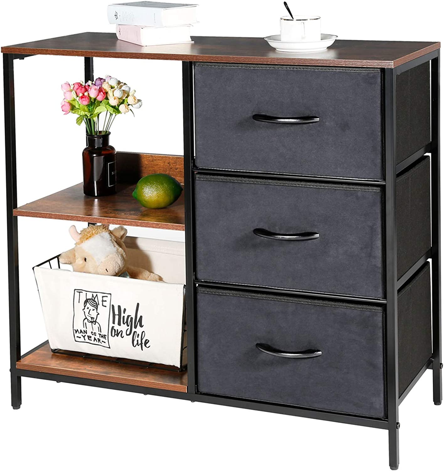 Kamiler Storage Cabinet with 3 Drawers, Floor Cabinet with 2-Tier Shelves, Dresser Organizer Furniture Tower for Bedroom, Living Room, Hallway, Sturdy Steel Frame, Wood Top