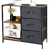 Kamiler Storage Dresser with 3 Drawers, File Cabinet with 2-Tier Shelves, Drawer Organizer Furniture for Bedroom,Office, Entr