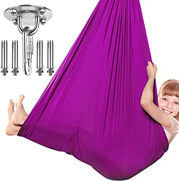 Sensory Integration Aspergers ADHD Therapy Swing for Kids with Special Needs Hardware Included Snuggle Swing Cuddle Indoor Outdoor Adjustable Hammock for Children with Autism