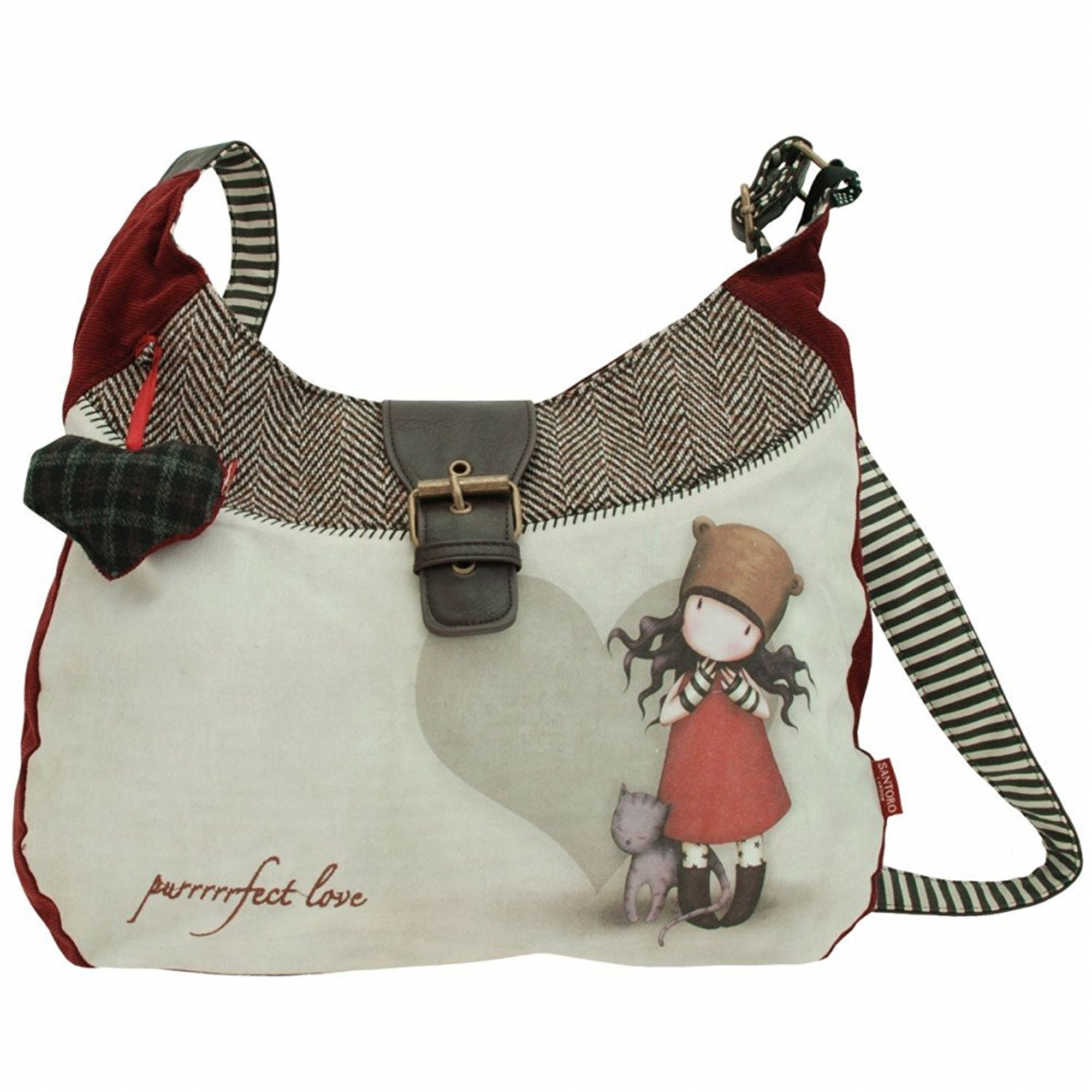 Amazon.com: Santoro London Gorjuss Slouchy Bag Purrrrrfect Love Perfect Handbag Crossbody: Clothing