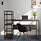 FHY Computer Desk 54 inch with 3 Storage Shelves for Home Office,with Wooden Bookshelf for Study Writing Table,Modern Simple