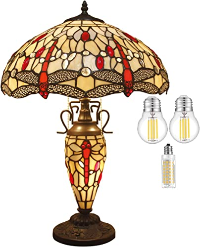 Tiffany Lamp W16H24 Inch 3 LED Bulb Included Amber Stained Glass Dragonfly Lampshade Antique Coffee Table Desk Night Reading Light Base S557 WERFACTORY Lamps Living Room Bedroom Nightstand Gift